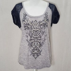 Miss Me Gray & Navy Embellished T-Shirt size M